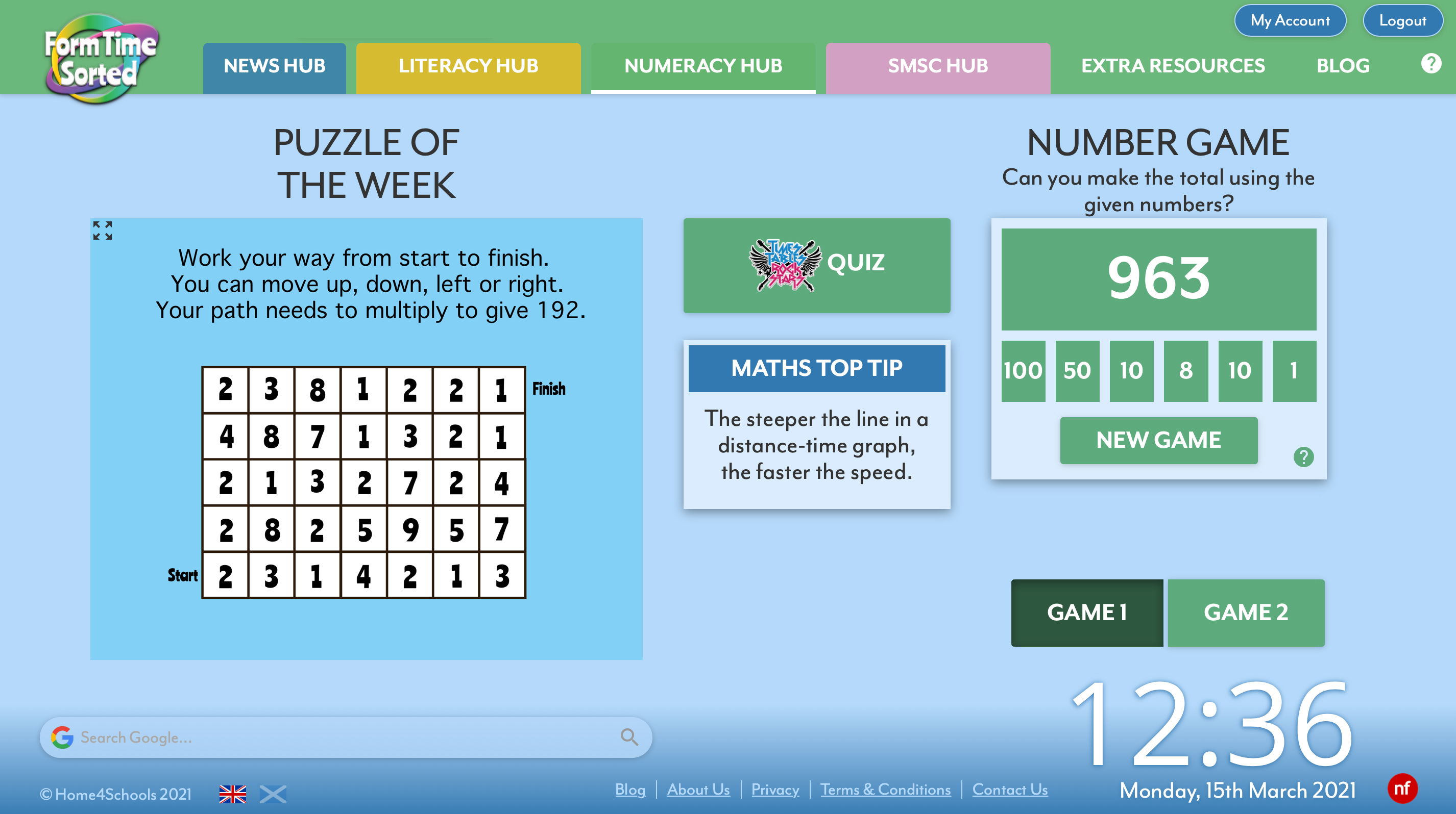Numeracy Hub Screenshot